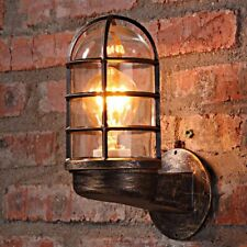 Industrial Bedside Wall Lighting Vintage Glass Lantern Shade Rustic Copper Lamp