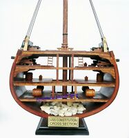 USS Constitution Cross Section Handcrafted Wooden Model Display Home Decor