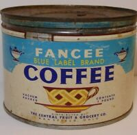 Vintage 1950s FANCEE COFFEE GRAPHIC KEYWIND COFFEE TIN 1 POUND MANSFIELD OHIO OH