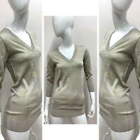 New $1,618 DOLCE&GABBANA Women's Gold Silver Lurex Vneck Sweater Size 38 EUR