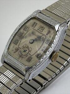 Antique BULOVA Men's WATCH Art Deco 1920's Swiss 17 Jewel Silver Platinum Finish