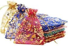 10 Rose Organza Gift Bags Jewelry Drawstring Sack Sheer Party Favors Assorted