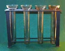 """MODERNIST IRON RACK WITH FOUR HAND BLOWN GLASS BUD VASES - 15"""" W X 11 1/4' T."""