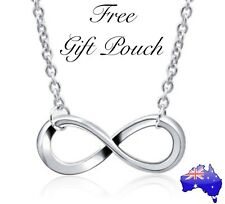 Silver Infinity Charm Pendant Necklace Women's Jewellery + FREE Gift Pouch NEW