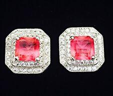 EARRING Cubic Zirconia Crystal Gemstone Stud Silver Square Simple Red Corundum