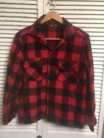 Vintage 1960's Fashion Wagon Wool Buffalo Plaid Jac Shirt USA Men's Medium