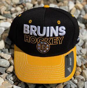 NHL Boston Bruins Adidas Flex Brim Fitted Hat Cap Black Size S/M