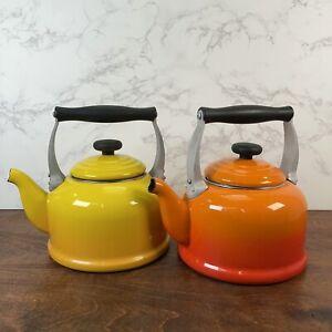 2 Le Creuset Yellow & Orange 2.2 Quart Tea Kettles Teapots (see description!)