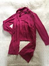 Heavenly Soft With Cashmere LINEA Pink Cardigan + Removable Scarf-size 12 VGC
