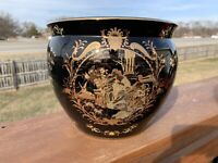 Vintage Asian Chinese Goldfish bowl PlanterHand-painted Gold