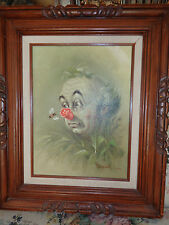 HOPPIN SIGNED CLOWN PAINTING 12 x 16 in carved wooden frame