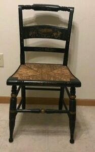 Antique Wooden with Gold Gilded Detail Cane Seat Accent or Desk Chair
