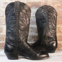 VTG Double H Men's 8 NARROW Cowboy Western Boots Black Leather Flame Stitched