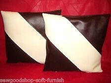 """2 Brown & Cream Diagonal Stripe Faux Leather Cushion Covers 16"""" 18"""" 20"""" Pillows"""