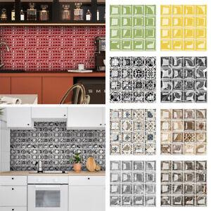 10Pcs Mosaic Kitchen Stick on Tile Stickers Bathroom 3D Self Adhesive Wall Tiles