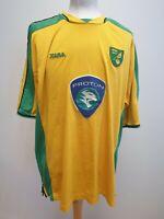 T378 MENS XARA NORWICH CITY YELLOW GREEN PROTON 2003-04 FOOTBALL SHIRT UK XXL