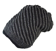 Cool High quality double layer textured Diagonal long beanie hat black UK SELLER