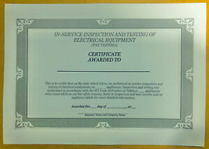 50 PAT Test Certificates, Revised 5th Edition Compliant, 180gsm Coloured Card