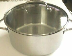 Cuisinart 7 QT Deep Saucepot 944-26 Stainless Steel W/ Glass Lid Cover Cookware