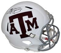 Johnny Manziel Autographed Texas A&M Aggies White Speed Replica Helmet JSA 24954