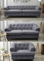 Oxford Three Seater Fabric Linen Chesterfield Dark Grey New Sofa Quality Wood