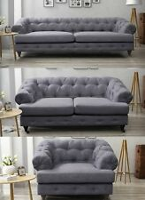 Oxford Chesterfield Dark Grey Sofa 3 + 2 + 1 Seater Fabric Linen Quality Chrome