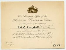 Australian Legation To meet Navy Officers inv. to Canada Consul Shanghai China