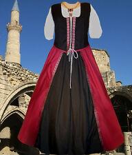 Sca Garb Renaissance Medieval Frt-Lcg Bodice Drawstr Full Skirt WineBlkSilv L Xl
