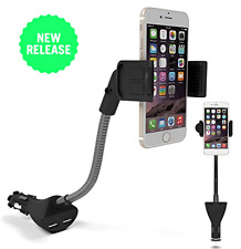 Car Smartphone Holder USB Car Charger Phone Car Holder Charger Dual USB 2.1A