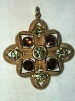 SARAH COVENTRY Lg Pendant Statement Necklace Brooch Pin Faux faceted crystal VTG
