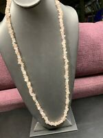 """Bohemian Rose Quartz  Stone Pink beaded necklace Ling Chip 30"""""""