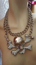 hb113 BRAND- HUGE CROSS AND SKULL CHUNKY CHAIN SILVERTONE PENDANT NECKLACE