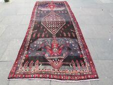 Vintage Hand Made Traditional Rug Oriental Wool Blue Long Carpet 345x139cm