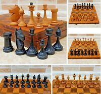 Soviet old Wood Chess Set Russian Vintage USSR Antique 30cm 11.8in