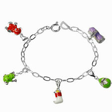 De Buman Sterling Silver Enamel Frog and Gourd Bead fit Bracelet, 8.5 inches