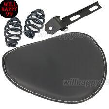 "3"" Black Spring Bracket SOLO Leather Seat For Harley Sportster Bobber Chopper"