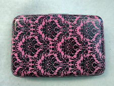 z PINK DAMASK BUSINESS CARD HOLDER CASE ID credit rfid security wallet armor new