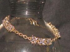 "solid 10K gold bracelet 36 Marquis Tanzanite 7.6gr 7.5"" wide signed STS"