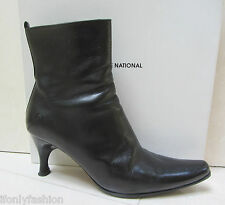 COSTUME NATIONAL Black Leather Ankle Zipper Short Booties  Boots Shoes 39.5