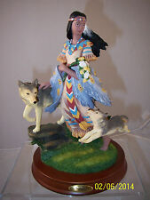 """Native Girl with 2 Wolves Resin Figurine on Wood Base Montefiori Collection 9"""""""