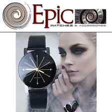 EPIC TIME- Lady Midnight- Leather Black Dress Watch