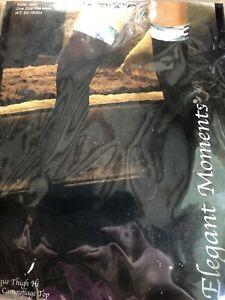 BNWT Elegant Moments Opaque Thigh Hi Stocking (1894) One Size Black