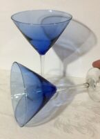 Set of 2 - Large 10 Oz. Blue Ombré Martini Glasses