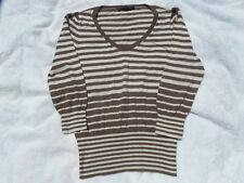 DAVID LAWRENCE STRIPED COTTON CASHMERE V-NECK JUMPER TOP SIZE M