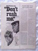 1968 Large Magazine Advertisement Page Bull Durham Extra Size Cigarettes Ad