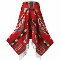 Women Bohemian Hooded Cape Cloak Warm Jacket Coat Poncho Scarf Shawl Wrap Winter