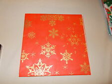 """VTG CHRISTMAS WRAPPING PAPER GIFT WRAP 20"""" X 30"""" MCM RED GOLD SNOWFLAKE 1950"""
