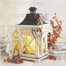 4x serviettes en papier pour découpage DECOPATCH Craft hiver Lanterne