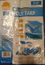 2- 5X7 foot poly tarp blue ships fast USA cover water proof