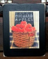 Fresh Orchard Apples Primitive Rustic Wooden Sign Block Shelf Sitter 3.5X4.5